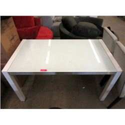 "Glass Top White Extension Table - 30"" x 55"""