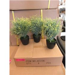 "4 Cases of 6 New 12"" Artificial Plants in Pots"