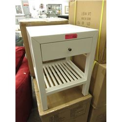 "New ""Style in Form"" White End Table with Drawer"