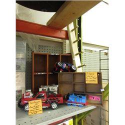 7 Piece Lot of Scale Model Cars & Mini Curio Shelves