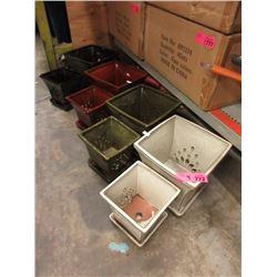 4 New 2 Piece Glazed Pottery Plant Pot Sets