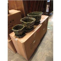 4 New 3 Piece Glazed Pottery Planters