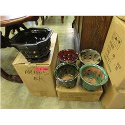 2 Cases of 4 New Glazed Pottery Plant Pots