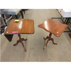 1 Oak Pembroke End Table & 1 Maple End Table