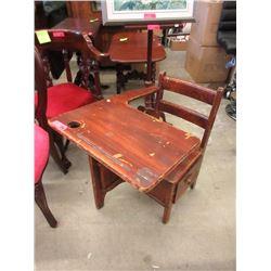 Child's Vintage Wood School Desk w/ Side Drawer
