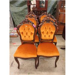 6 Vintage Carved Wood Dining Chairs