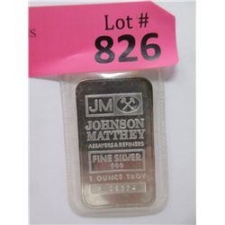 "1 Oz. .999 Fine Silver ""Johnson Matthey"" Bar"