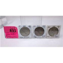 3 USA 1922 Morgan Silver Dollar Coins -.900 Silver