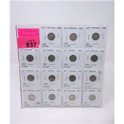 15 Canadian Silver Dimes - 1938 to 1952