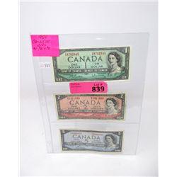 Three 1954 Canadian Bank Notes - $1, $2, $5