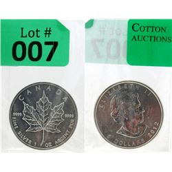 1 Oz 2012 Canada Maple Leaf .9999 Silver Coin