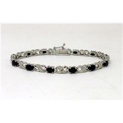 Dark Blue Sapphire & Diamond Infinity Bracelet