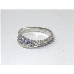 Diamond & Tanzanite Crossover Design Ring