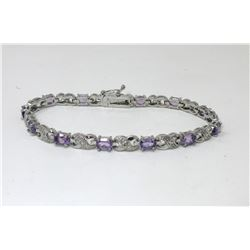 Amethyst & Diamond Figure 8 Tennis Bracelet