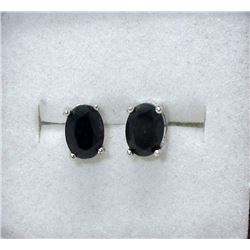 New 2 CT Blue Sapphire Sterling Silver Earrings