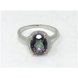 2.5 CT Mystic Topaz & Diamond Sterling Silver Ring