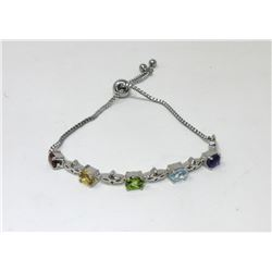 Sterling Silver Multi Gemstone Oval Tennis Bracelet