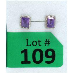 New Sterling Silver Amethyst & Diamond Earrings