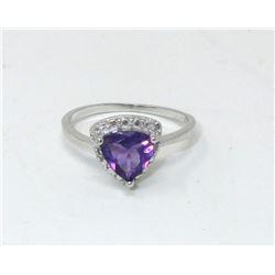 1.1 CT Diamond & Amethyst Sterling Silver Ring