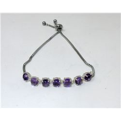 Amethyst Cabochon Sterling Silver Bracelet