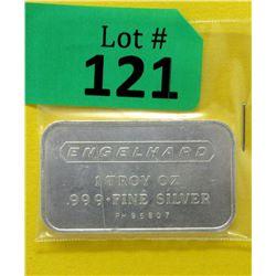 1 oz. Engelhard .999 Fine Silver Bar