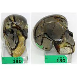 3.02 LB Carved Septarian Crystal 3D Healing Skull