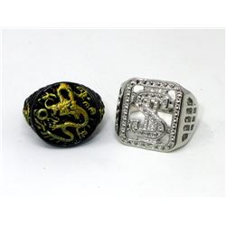 2 New Men's Biker Rings with Display Stands