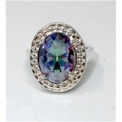 Beautiful Mystic Topaz Solitaire Ring
