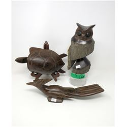 Carved Iron Wood Owl, Turtle & Road Runner Statues