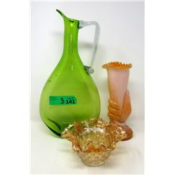 Vintage Large Green Blown Glass Decanter & More
