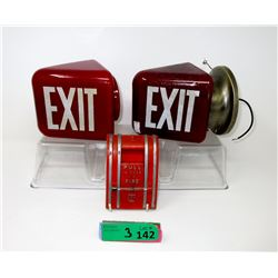 2 Vintage Ruby Glass Exit Signs & an Alarm Pull