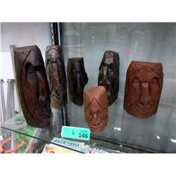 6 Signed First Nations 2D Standing Wood Carvings