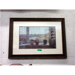 Large Framed Print of Ocean View from Window