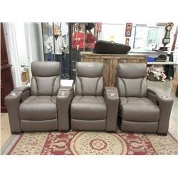New 3 Piece Grey Leather Theater Sectional Seating