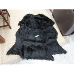 3 New Black Fun Fur Carpets - Sheep Skin Shape