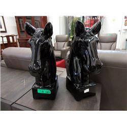 2 New Black Glazed Ceramic Horse Head Statues