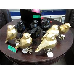 """9 New 6"""" x 8"""" Black and Frey Gold Birds"""