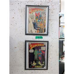 2 Vintage Pressure Framed Superman 12¢ Comics