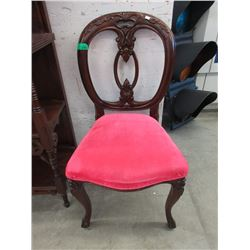 Vintage Carved Back Mahogany Side Chair