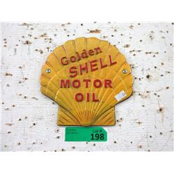 """Cast Iron Shell Oil Clam Shell Sign - 7"""" x 7"""""""