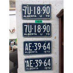 2 Pairs of 1970 Alberta License Plates