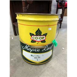 Vintage 35 Pound Gallon Maple Leaf Grease Pail
