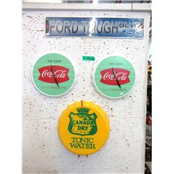 2 Coca-Cola Clocks, Canada Dry Tonic Sign & more
