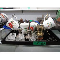 Miners Lamp, Silver Plated Candle Holders & More