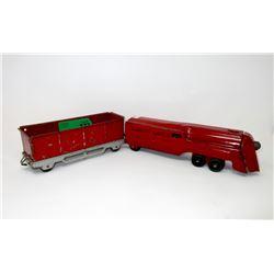 1950s Marx Locomotive & Coal Car with Wood Wheels