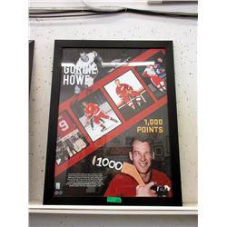 """Framed Gordie Howe """"100 Points"""" Poster"""
