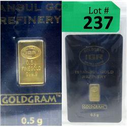 One Half Gram .9999 Fine GoldIstanbulBar