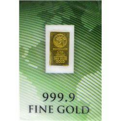 One Tenth Gram .9999 Gold Investor Bar