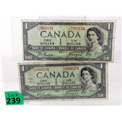 2 x 1954 Canadian Devil Head $1.00 Notes
