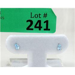 BrandNew 10KT Gold Blue Topaz Stud Earrings